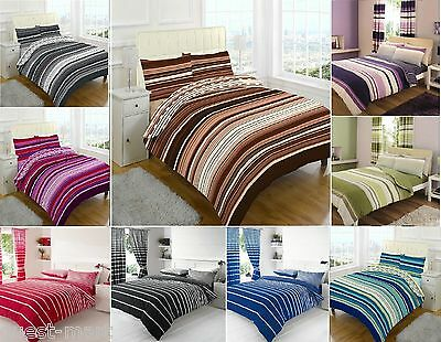 Luxury Multi Stripe Printed Poly Cotton Duvet Cover + Pillow Case Bedding Set