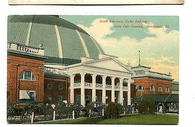 Vintage Postcard SPRINGFIELD IL STATE FAIR GROUNDS South Entrance Dome unused