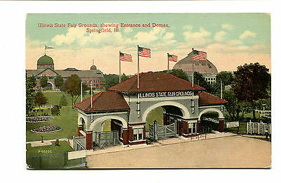 Vintage Postcard SPRINGFIELD IL STATE FAIR GROUNDS Entrance & Domes