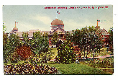 Vintage Postcard SPRINGFIELD IL STATE FAIR GROUNDS Exposition Building unused