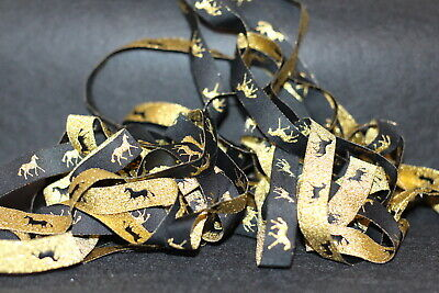 HORSE RIBBON 5 yd Metallic black & gold 16mm Horse Rugs boots sewing