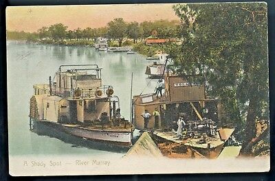 1905 Scarce Pt Pu Postcard Paddle Steamers Victor & Tolarno River Murray S25.