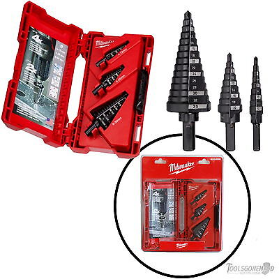 Milwaukee 3 Piece Metric Step Drill Bit Set New Retail Blister Pack 48-89-9399