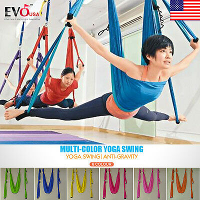2.8M Aerial Anti-Gravity Yoga Hammock Swing Trapeze Fitness Inversion Pilates Ho
