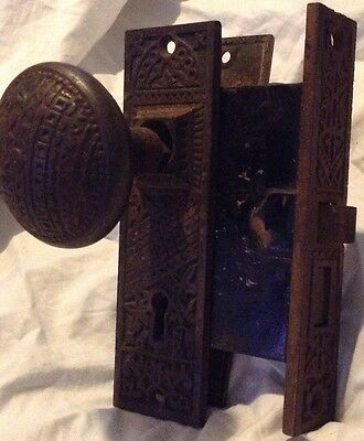 Complete Set Eastlake Victorian Cast Iron Door Knobs Plates Lock