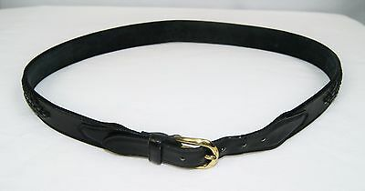Vintage Black Leather Braided Leather Accent Belt Solid Brass Buckle Size L/XL