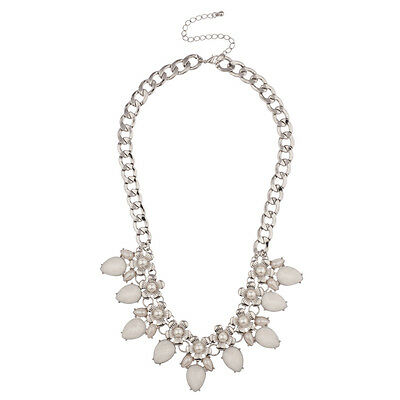 Lux Accessories Floral White Faux Pearl Flower Chain Link Statement Necklace