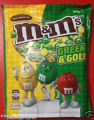 AUSTRALIAN GREEN & GOLD MILK CHOCOLATE M&M's 1 x 345g JUMBO SHARE PACKET M&Ms