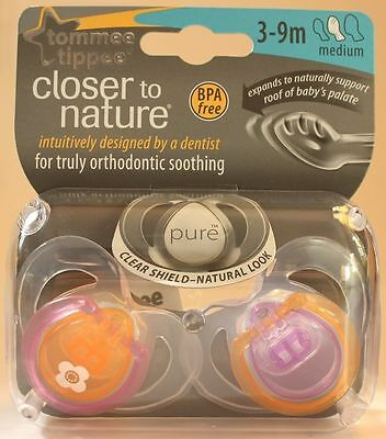 Tommee Tippee CTN Pure 2-Pack Soothers for 3-9m - Orange/Pink Design