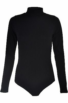 Ladies Womens Long Sleeve Polo Turtle Neck Bodysuit Leotard Rib Top Size 6-14