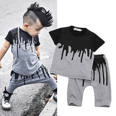 2pcs Toddler Kids Baby Boy T-shirt Tops Harem Pants Casual Outfits Trousers Tee