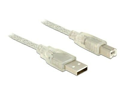 Delock Cable USB 2.0 Type-A male > USB 2.0 Type-B male 1 m transparent Ø 4 mm