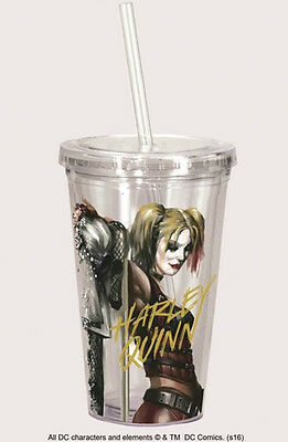 Harley Quinn Double Wall Insulated Acrylic Travel Cup with Straw, NEW UNUSED