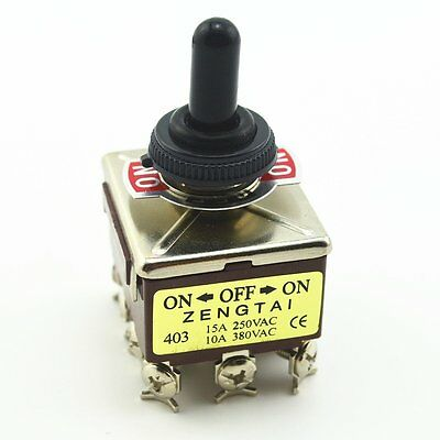 New 15A 250VAC 12-Pin ON-OFF-ON Mini Toggle Switch Switches w Waterproof cap