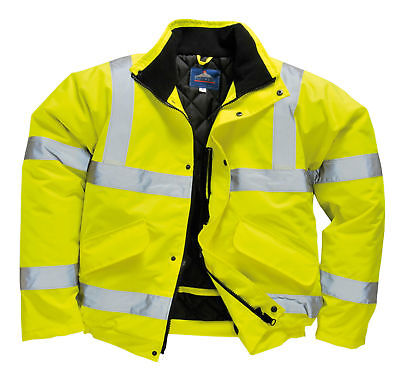 Portwest Hi Viz High Vis Visibility Bomber Work Jacket Coat Yellow Orange