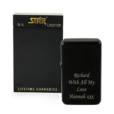 Personalised Engraved Black Lighter - Star Gift Box - Birthdays, Anniversary