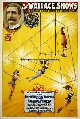 Vintage Circus Trapieze High Wire Aerial Acts SET OF 4 Full Color Prints!