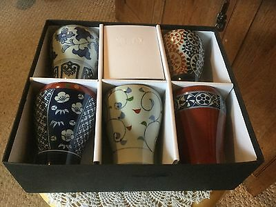 "Pre Owned Set of 5 Japanese Mugs.  4.25"" H x 3"" D.  In gift box."