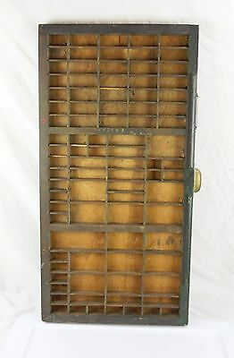 Antique Painted Green Wood Printers Tray Drawer With Brass Handle & Label Holder