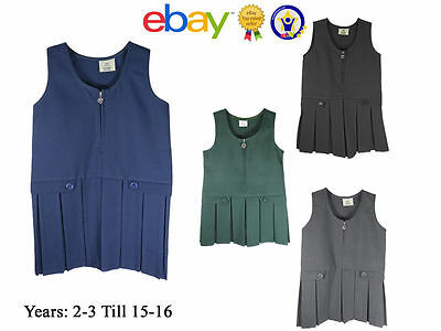 Uk Kids Girls School Dress Uniform Pini Pinafore Button Top Pleated Zip Quality