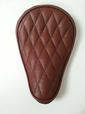 Custom Solo Seat Bates Style Leather Diamond Stitch Brown Bobber Chopper Harley