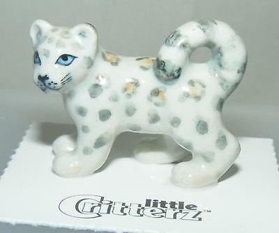 "Little Critterz Miniature Porcelain Animal Figure Snow Leopard ""Sarani"" LC855"