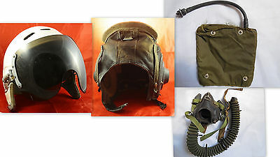 Two old Soviet USSR Air Force Pilot Helmet ZSH-3M + leather