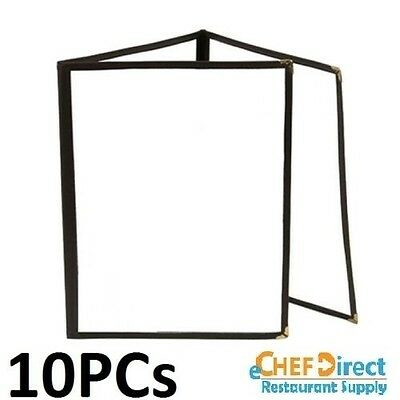 "10 PCs Tri-Fold Pocket Menu Cover, 8-1/2"" x 11"", Black Trim"