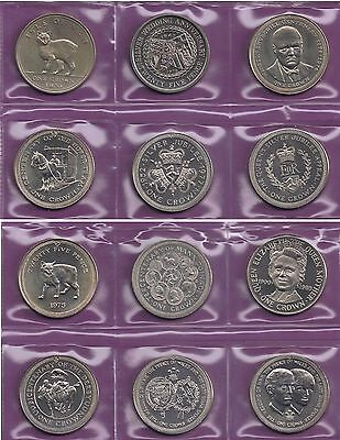 IOM Isle of Man Manx 1970-81 Commemorative Crowns in sealed wallets