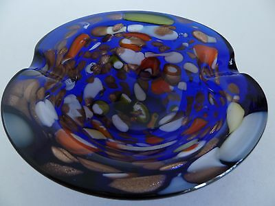 Murano Art Glass Cobalt Blue Multi-color Spotted Ashtray Candy Dish