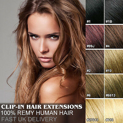 Full Head Clip in Remy Hair Extensions 100% Real Human Hair