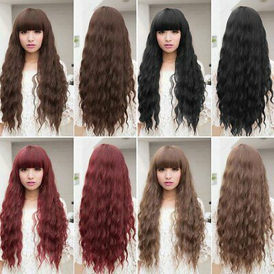 Beauty Fashion Womens Lady Long Curly Wavy Hair Full Wigs Cosplay Party AU