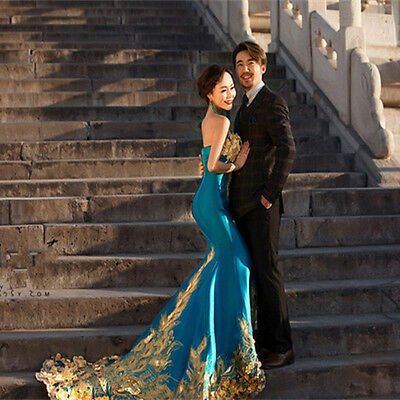 Green Embroidery Cheongsam Train Quinceanera Dress Evening Prom Party Ball Gown