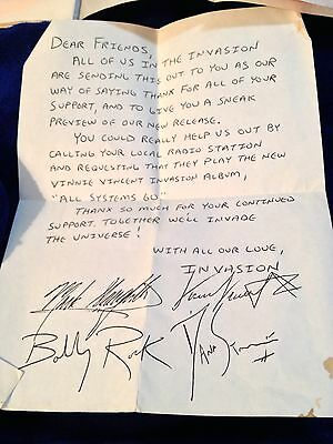 """Vinnie Vincent Handwritten Letter And Typed Band Bio For """"All Systems Go"""" Album"""