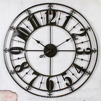 Large Iron Metal Wall Clock French Provincial 76 cm Black
