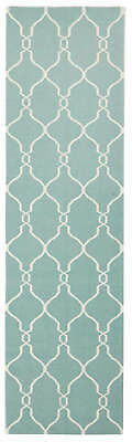 80x300 Runner Flatweave Wool Floor Rug GYPSY Modern Blue Diamond Trellis NM27SKY