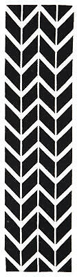 80x300 Runner Flatweave Wool Floor Rug GYPSY Modern Black Zig Zag Chevron NM30BK