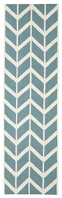 80x300 Runner Flatweave Wool Floor Rug GYPSY Modern Blue Zig Zag Chevron NM30B