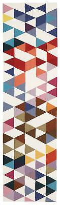 80x300 Runner Flatweave Wool Floor Rug GYPSY Modern Multicolour Geometric NM35M