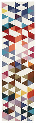 80x400 Runner Flatweave Wool Floor Rug GYPSY Modern Multicolour Geometric NM35M