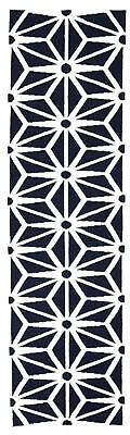 80x300 Runner Flatweave Wool Floor Rug GYPSY Modern Navy Starburst  Kilim NM29NV