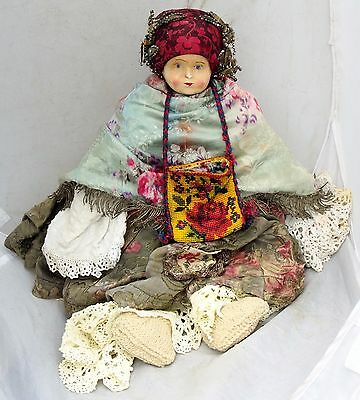 Antique Papier-Mache Russian Folk Dress Garb Doll Lehmkull Unique 20'' german