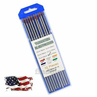 """10-Pack TIG Welding Tungsten Electrodes 2% Thoriated 1/8"""" x 7"""" (WT20 Red)"""