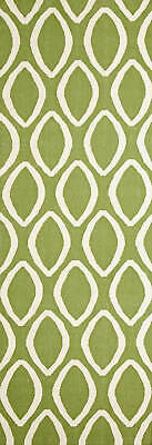 80x300 Runner Flatweave Wool Floor Rug GYPSY Modern Green Oval Trellis NM20G