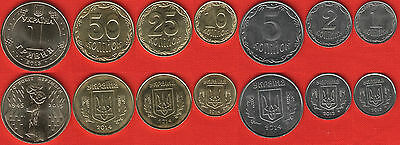 Ukraine set of 7 coins: 1 kopiyka - 1 hryvnia 2012-2015 UNC
