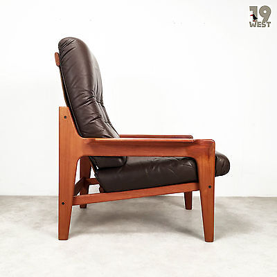 Danish Teak and Leather Easy Chair, Arne Wahl Iversen, Komfort, 1960's