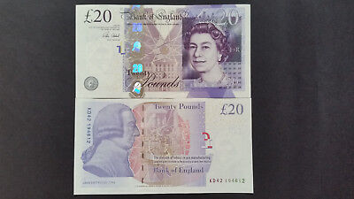 """1x""""Bank of England"""" £20 (Twenty) Pounds""""UNC 1 Banknote,""""Consecutive Numbers"""""""