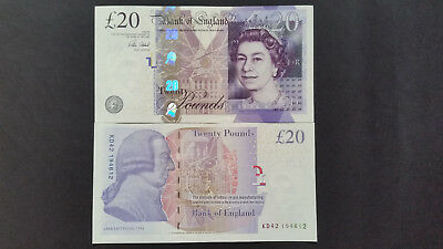 "Great Britain £20 pound,2006(2007),P392 GEM UNC 1 Banknote,""Consecutive Numbers"""