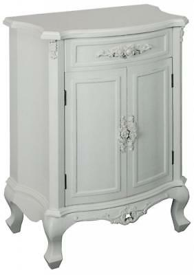 Shabby Chic Ivory White Vintage Rose 2 Door Cabinet Ornate French Style Drawer