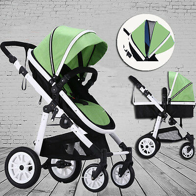 New 2 In 1 Baby Toddler Pram Stroller Jogger Aluminium With Bassinet Pink